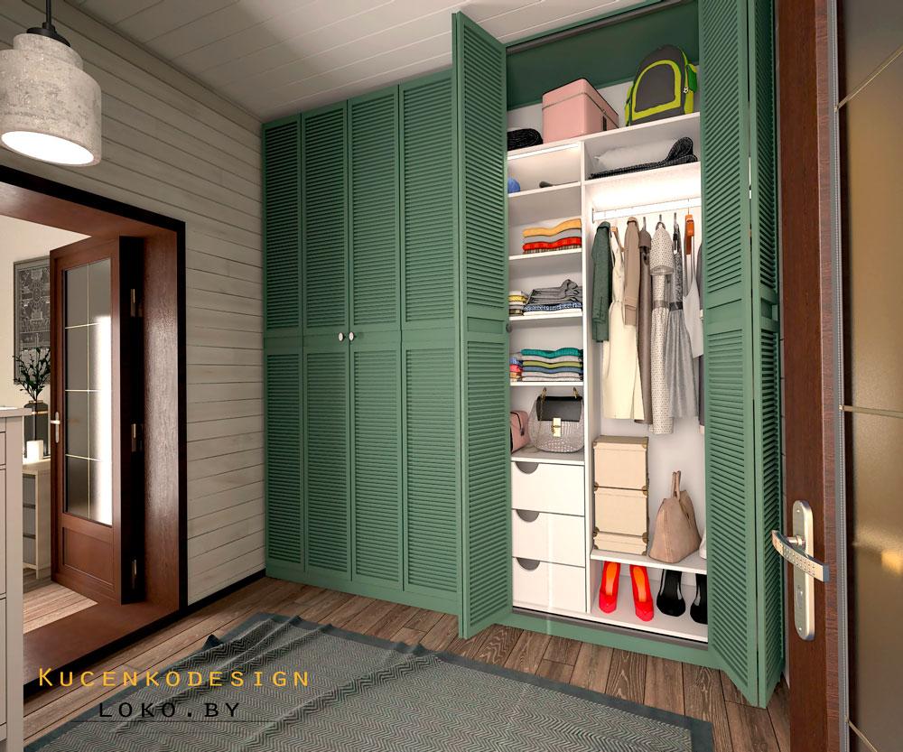 интерьер гардеробной частный дом