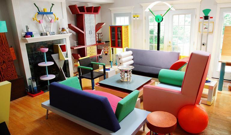 дизайн гостиной в стиле постмодернизм