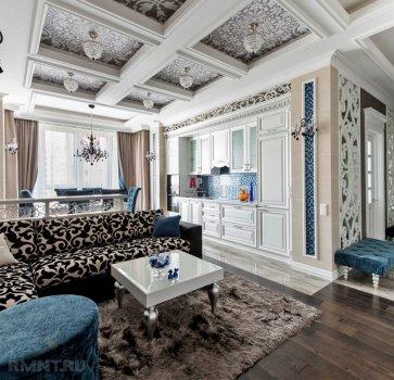 дизайн интерьера с кессонным потолком